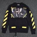 2016 OFF БЕЛЫЙ Tide новый ангел мужские пуловеры полосой 13 толстовки из флиса Кофты бренд бирка Видения религия живопись