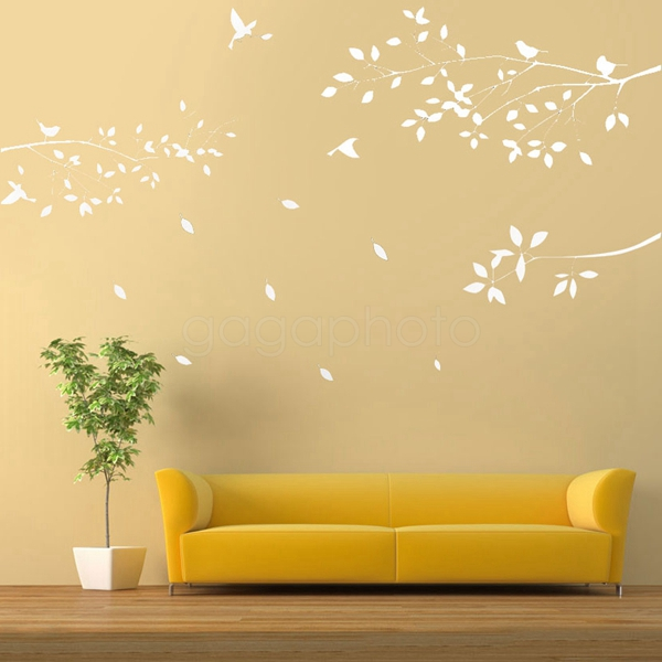 650*600mm White PVC Tree Branches Birds Leaves Home Wall Stickers ...