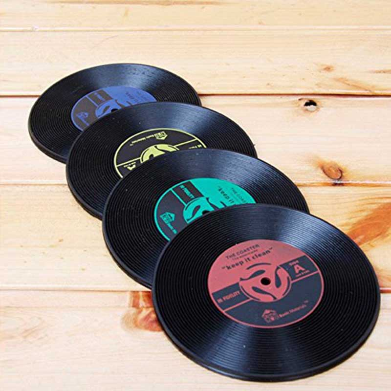 creative 6pcslot drinks coasters glass disc mat cup vinyl pad gift black insulation mat kitchen gift cool table accessories