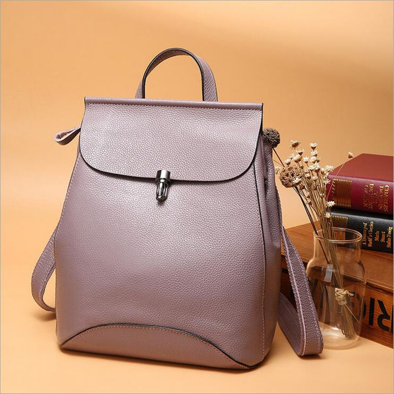 2017 New arrival Fashion High quality Women's Genuine Leather Bags brand design women backpack ,  female cow real leather bag new brand esloth for ipad waterproof genuine leather bag high quality fashion multi use design 32cm 11cm 19cm female bag nb05