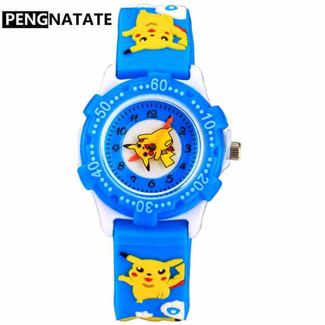 PENGNATATE Kids Watches Boys Fashion Waterproof Strap 3D Cartoon Pikachu Childre