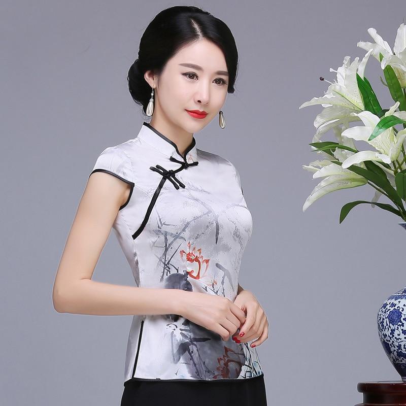 À Élégante Blouse Classique Vintage La Imprimé D'affaires Blanc Femme Main Bouton Fleur Femmes Améliorée Vêtements Chemise Tang Top wqXaPYxXf