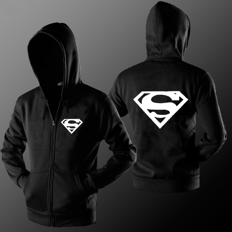 MIDUO 2018 Superman New Men Brand Designer Mens Fleece Sweatshirt Men Luxury Harajuku Zipper Hoodies Men Brand Hooded Cotton Jac