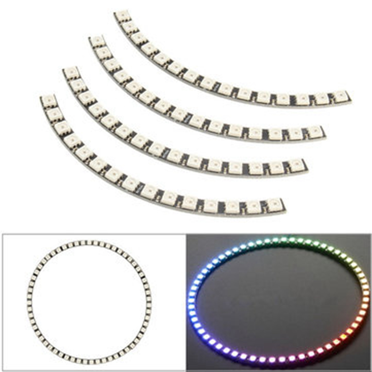 Jiguoor Ring LED Light Bulb Wall Clock 60LED WS2812 5050 SMD RGB LED Lamp Panel for Arduino 5V 1A keyes 5050 rgb led module for offical arduino products red silver