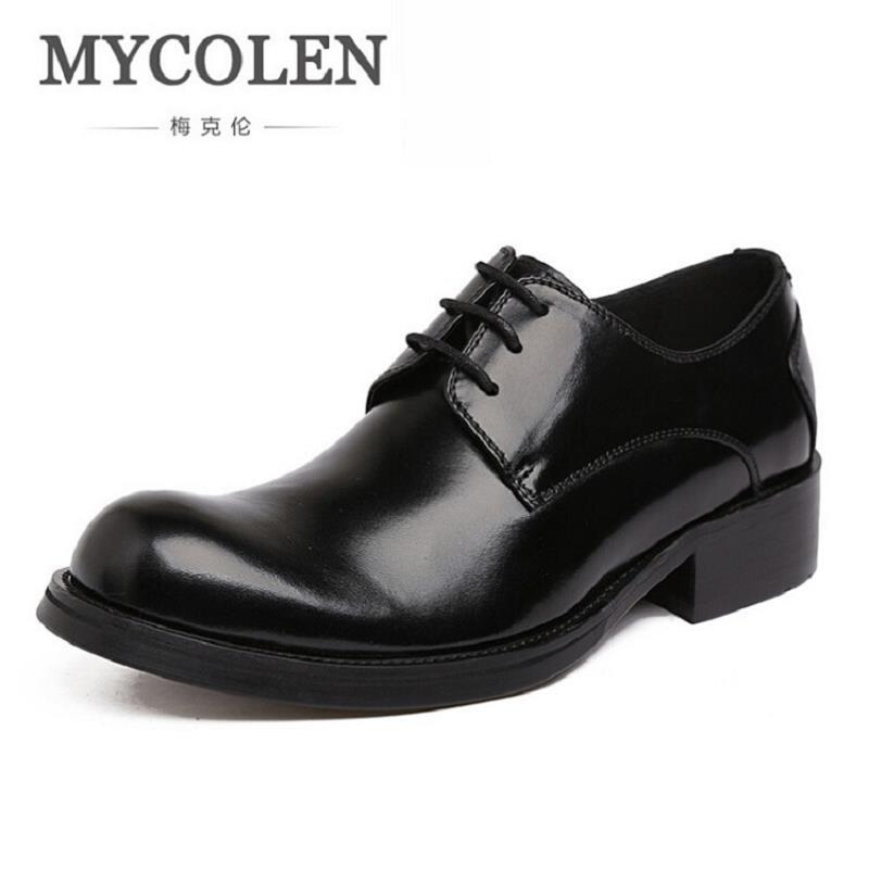 MYCOLEN New Fashion Genuine Leather Men Derby Shoes Lace-Up Business Dress Men Oxfords Male Formal Shoes chaussure homme cuir top fashion shoes men mens canvas shoe chaussure homme leather business breathable spring autumn solid medium b m flat lace up