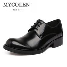 Фотография MYCOLEN New Fashion Genuine Leather Men Derby Shoes Lace-Up Business Dress Men Oxfords Male Formal Shoes chaussure homme cuir