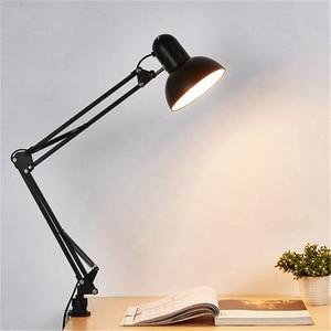 Mrosaa Flexible Swing Arm Clamp Mount Desk Lamp Office Studio Home E27/E26 Black Table Desk Light AC85-265V Led Bulb Lamps