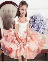 Flower Girls Party Dresses For Weddings Princess Ball Gown Toddler Kids Formal Gril Communion Pageant Gowns Tiered Knee Length