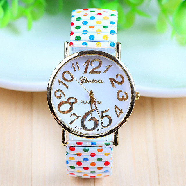 Fashion dress ladies Watches Leather New Stylish Unisex Polka Dot Casual Elastic