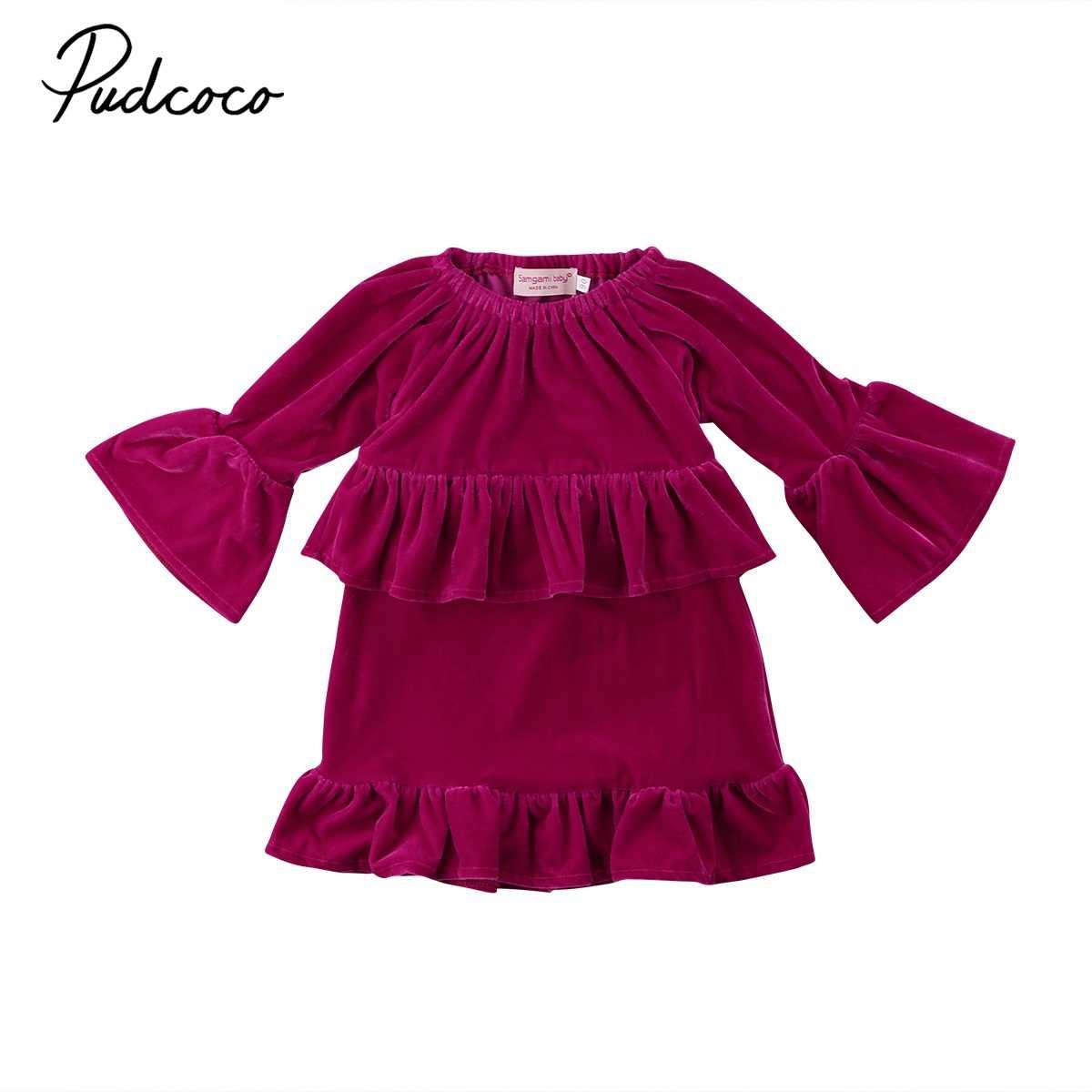 6c3c2221b6c 2018 Фирменная Новинка для малышей Одежда для детей  малышей  девочек  принцесса бархат рюшами платье