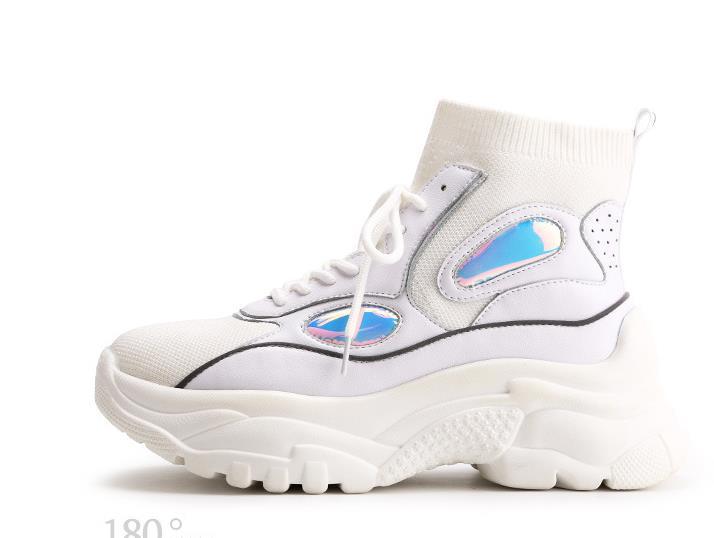 Chaussette Doux Sneaker Chaussure Blanc Top Mode De Noir forme Laser Dame Chaussures Marque Femmes Femelle Noir blanc Plate Casual 5px4a7aW
