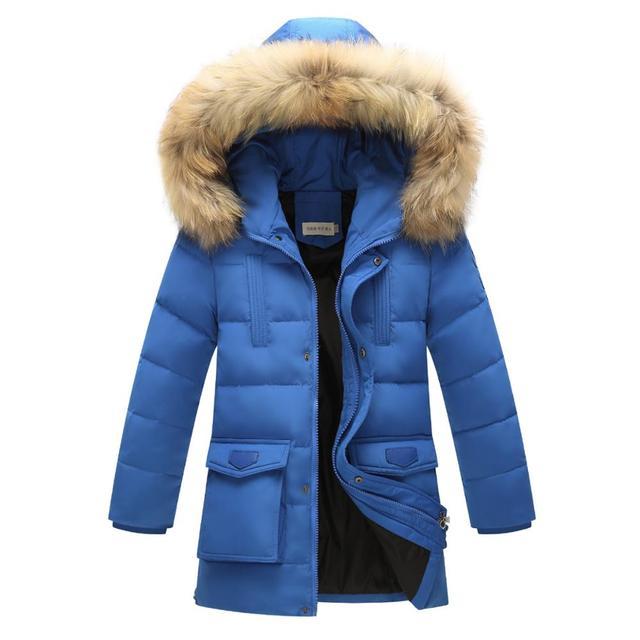 Meninos Jaqueta Grossa Para Baixo 2016 Novo Inverno de alta Qualidade Meninos Roupas Novas Crianças Longas Seções Casaco Quente Com Capuz Para Baixo Outerwear