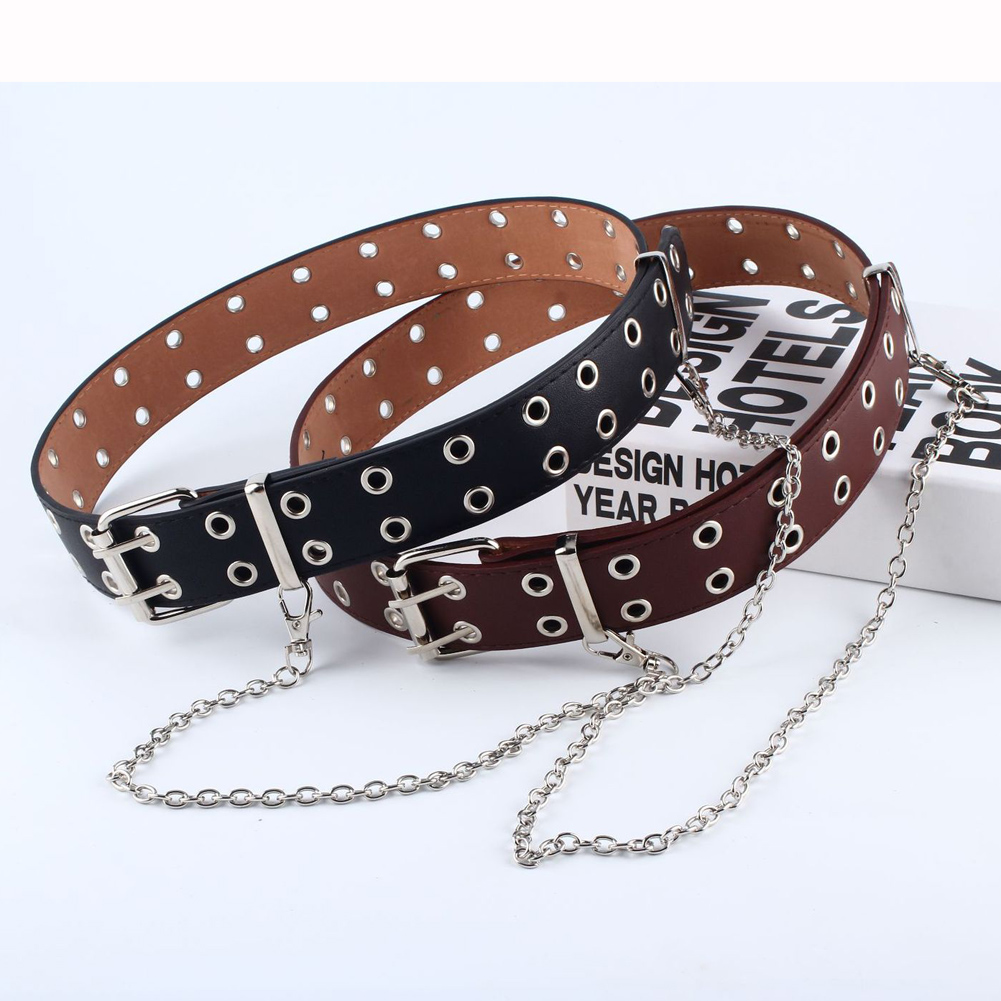 New Fashion Punk Chain Belt Adjustable Double/Single Eyelet Grommet Female Belt Pu Leather Buckle New Stylish Belts For Women