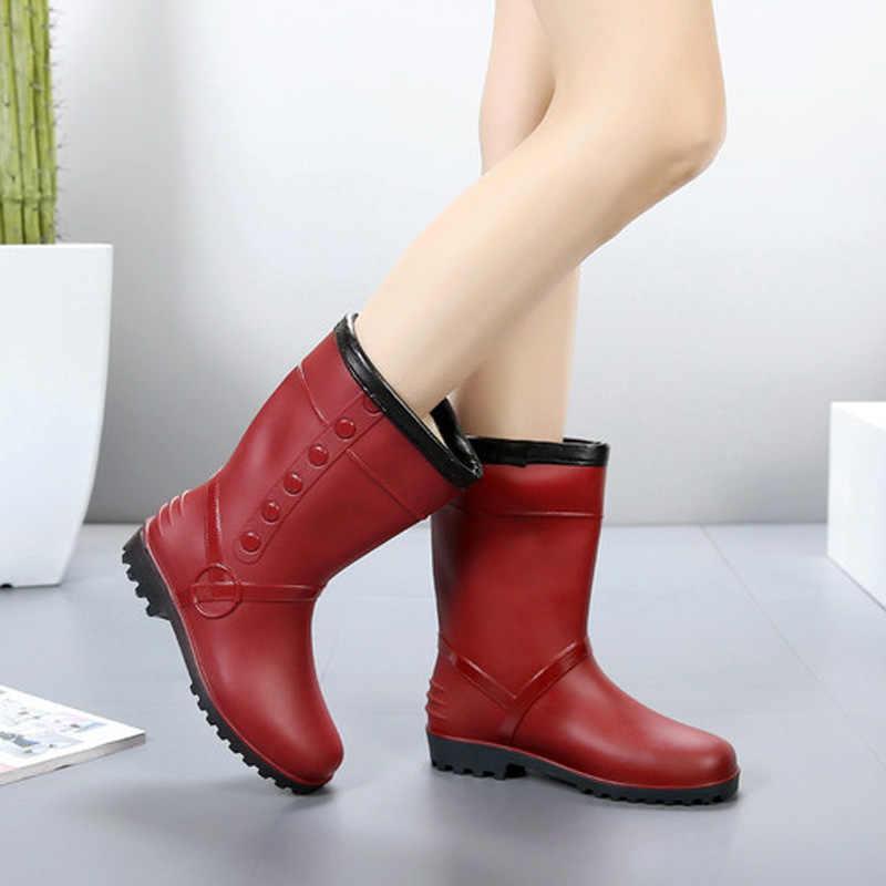 LAKESHI אופנה גשם מגפי נשים החלקה קטיפה להתחמם שלג מגפי נשים נעלי מים חדש ארוך מגפיים נשים נעליים