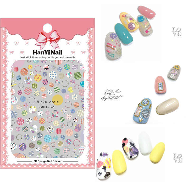 HY153-170 2018 New Summer Flicka Dots Chrysanthemum Flowers Puppy Dog Nails Art Sticker Nail Wrap Sticker Tips Manicura stickers