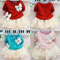Lovely Baby Girls Dress Knit Crochet Sweater Tops Lace Bowknot Dresses Clothing
