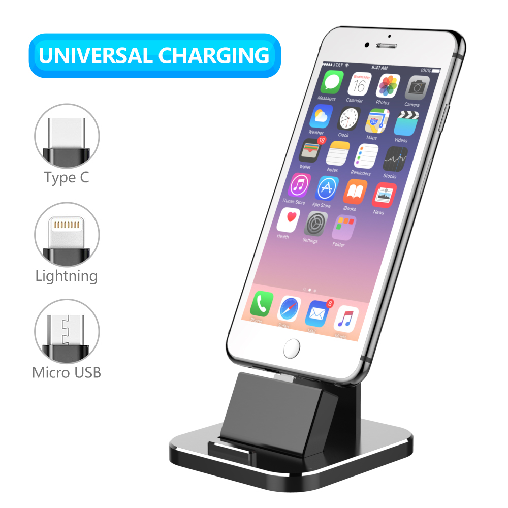 Galleria fotografica Cell Phone Charger Dock XUNMEJ Universal Desktop Charging Stand Station for All Android Smartphone SamsungiPhone X/8/7/6/Plus