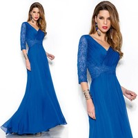 elegant royal blue long mother of the bridal dress 2017 3/4 sleeves v neck mermaid women formal evening gown for wedding party