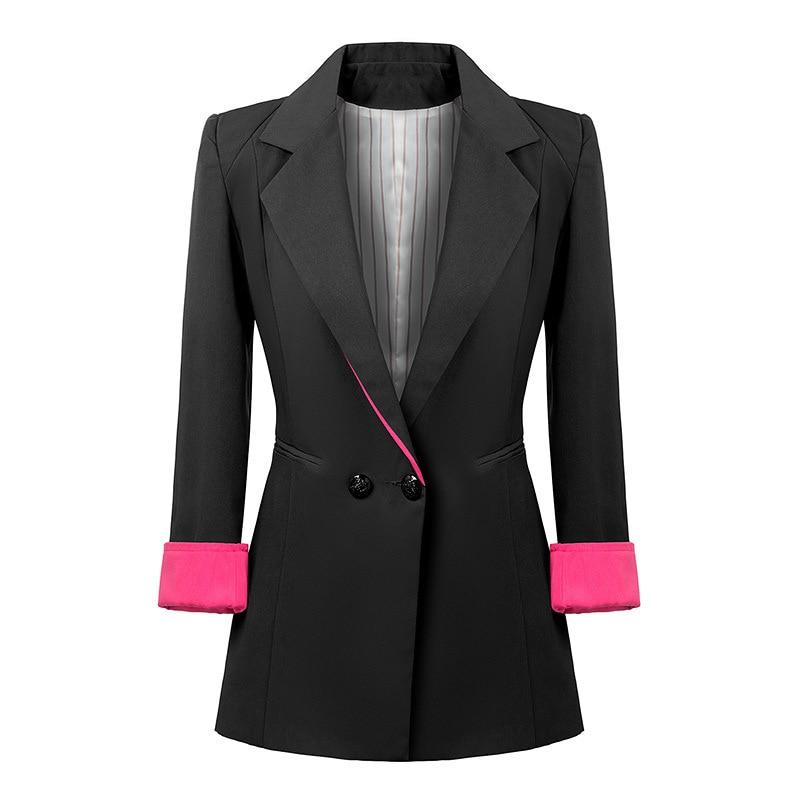 Aliexpress.com : Buy Ladies Double Breasted Long Blazer Women Work ...