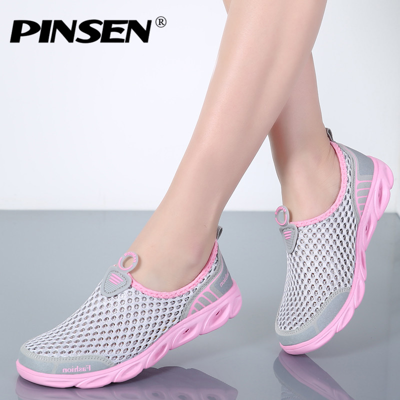 PINSEN 2018 Summer Casual Shoes Woman Slip-On Platform Flats Female Breathable Zapatillas Slipony Women Shoes Zapatillas Mujer jialuowei brand extreme high heel 18cm 7 sexy fetish hoof heel wedges boots patent leather lace up ballet short ankle boots