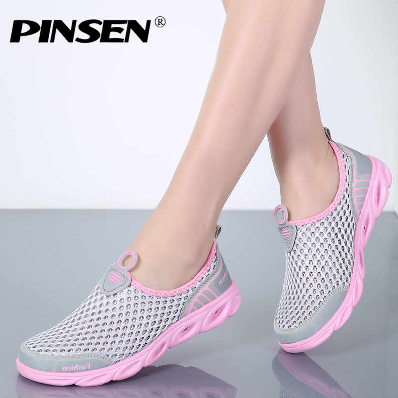 Detail Feedback Questions about PINSEN 2019 Summer Casual Shoes Woman Slip  On Platform Flats Female Breathable Zapatillas Slipony Women Shoes  Zapatillas ... ec3af44ccf24