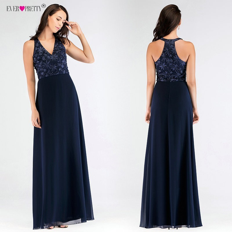 Ever Pretty Navy Blue   Bridesmaid     Dresses   Long A Line V Neck Appliques Beading Wedding Party Gowns Lace vestido de festa longo