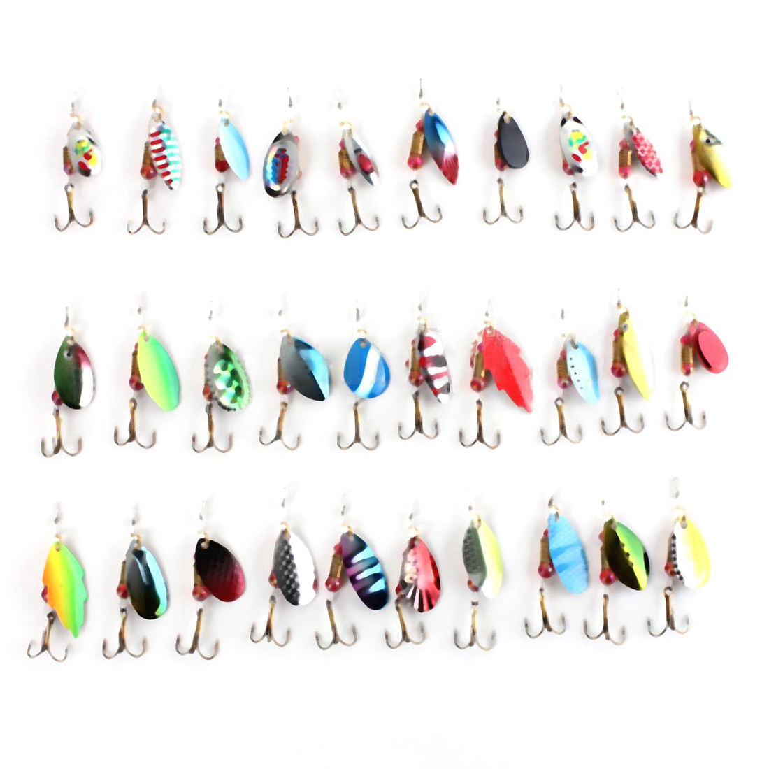 3 Pcs of (30pcs Assorted Fishing Lures Crankbaits Spinner Baits Hook Minnow Tackle USA)