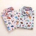 Новые Цветочные Рубашки Женщины Длинным Рукавом Блузки Cherry Рубашки Женщины Хлопок Рубашка Turn Down Воротник Дамы Блузки Женщины Топы Моды