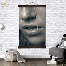 Woman Face in the Rain Modern Canvas Art Prints Poster Wall Painting Scroll Artwork Pictures Home Decoration