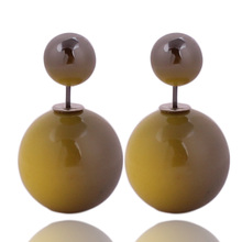 14 Colors New Arrival Simple Colorful Double Ball Earrings Gradient Double Side Pearl Stud Earrings For Women 2016 Jewelry