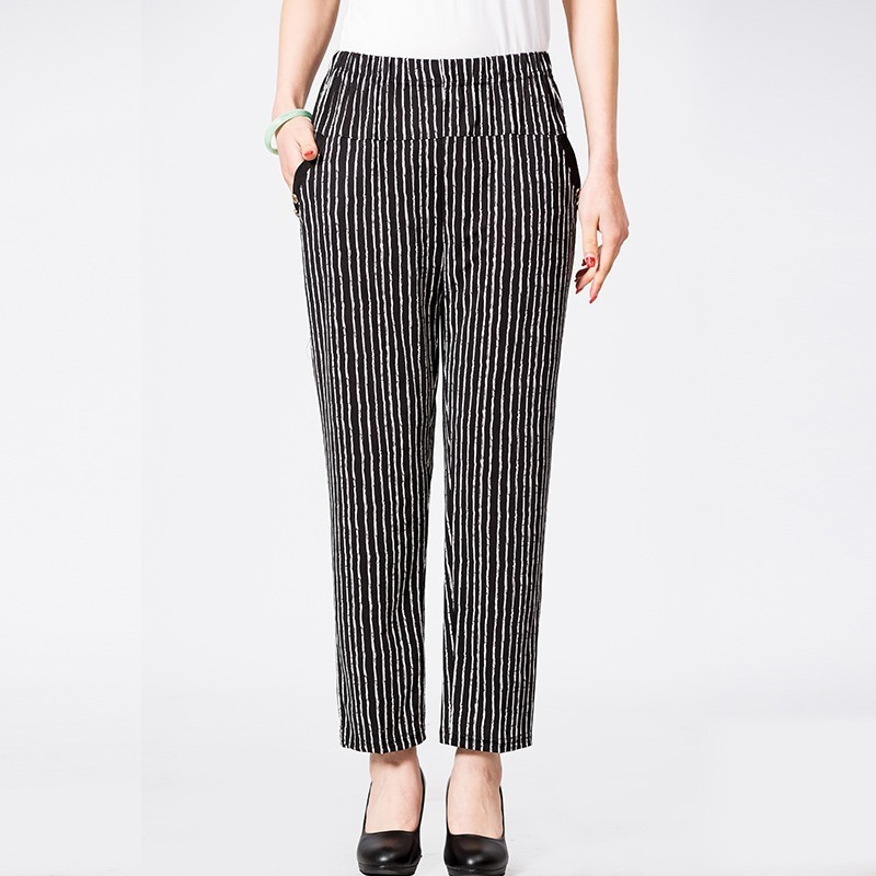2020 Middle Aged Women High Waist Elastic Straight Pants Casual Lady Ankle Length Capris Trouser Women Clothing Plus Size