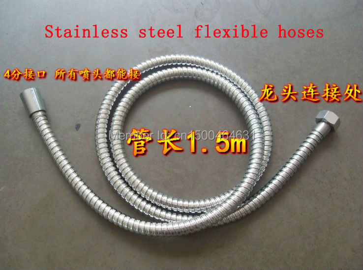 high quality 1.5m Stainless Steel Flexible Shower Hoses with brass core + zinc cap + double buckle