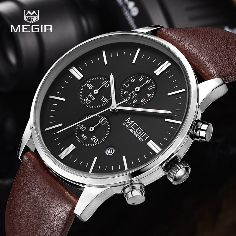 MEGIR hot mode lederen quartz horloge man lichtgevende chronograaf - Herenhorloges - Foto 5