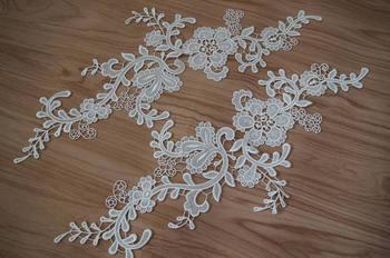 10 pairs off white lace applique, venice lace applique, retro flower lace applique, bridal headpiece lace applique by pairs фото