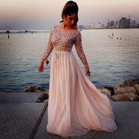 Abendkleider Crystal 2015 Elie Saab Dress Real For Prom Beaded Long Gowns With Sleeves Uzun Abiye