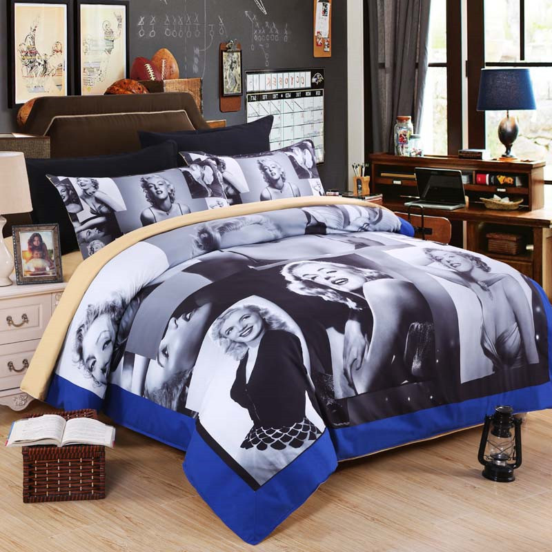 High Quality EsyDream Sexy Marilyn Monroe Bedding Sets (No Comfroter),King Queen Twin  Size Gray Sexy Marilyn Monroe Duvet Cover Sets In Bedding Sets From Home U0026  Garden ...