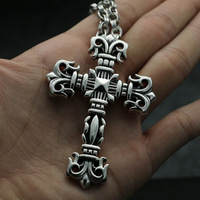 Fashion Jewelry Male Winter Sweater Chain Accessories CH Silver Cross Necklace Sterling Silver Pendant Large