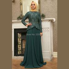 Lace Long Sleeve Dark Green Chiffon Hijab Muslim Evening Dress Peplum Formal Party Gown robe de soiree