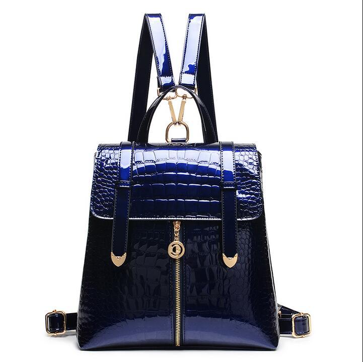 2017 new backpack Sequin dual purpose Female Travel Backpack leather crocodile grain tide student school bag