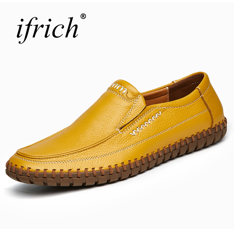 Ifrich Men's Shoes Casual Shoes Fashion Slip On Mens Loafers Large Size 38-47 Men Driving Shoes Black White Footwear Leather klywoo breathable men s casual leather boat shoes slip on penny loafers moccasin fashion casual shoes mens loafer driving shoes