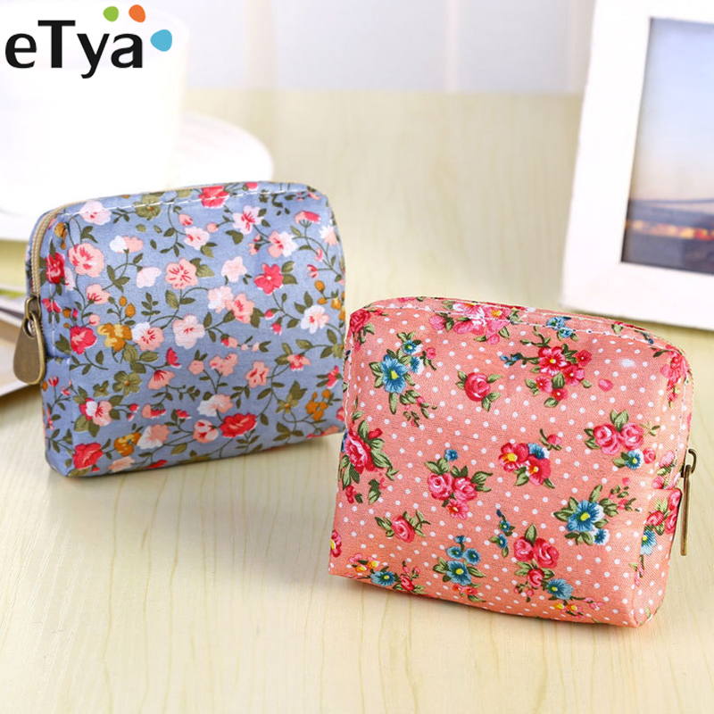 eTya Coin Purses Women Wallet Zipper Small Cosmetics Pouch Female Cute Flowers Printing Key Credit Card Holder Case Girl Gift etya new women purses cute zipper small flower bag female girl headset line coin purse card bag clutch wallet key bags wholesale