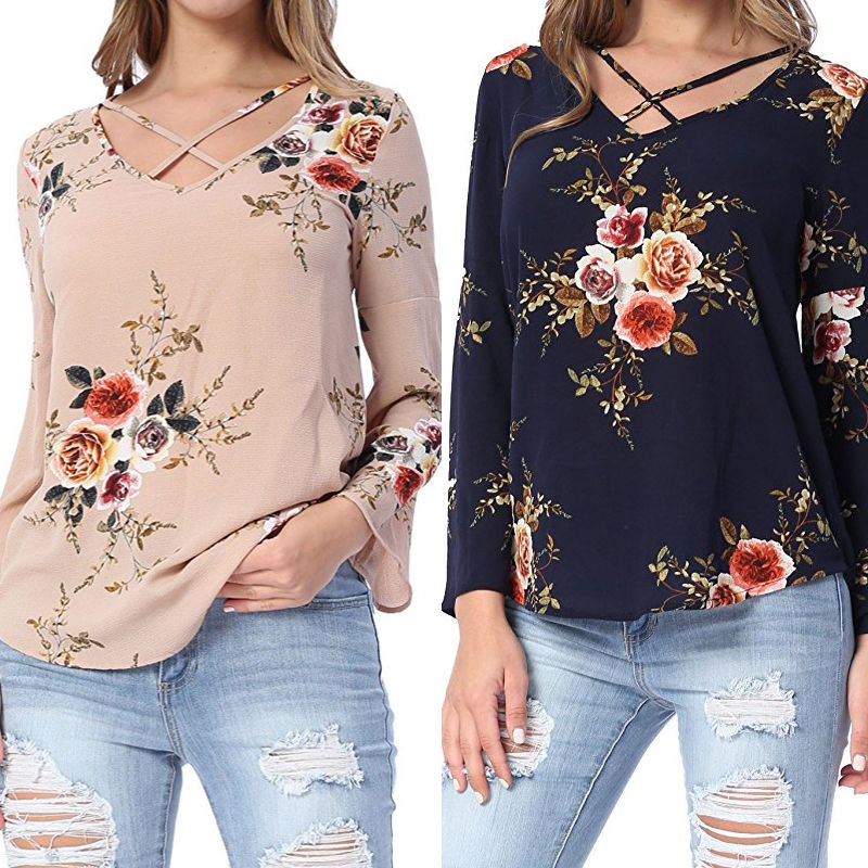 New Fashion Women Lady Loose Long Sleeve Tops   Blouse     Shirt   Casual Cotton Floral Print Loose   Blouses