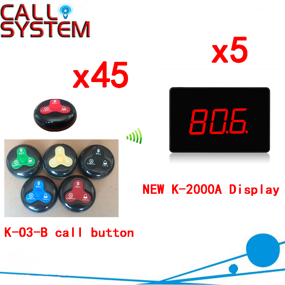Wireless Calling System Hot Sell Battery Waterproof Buzzer Use Table Bell Restaurant Pager(5 display+45 call button) wireless pager system 433 92mhz wireless restaurant table buzzer with monitor and watch receiver 3 display 42 call button