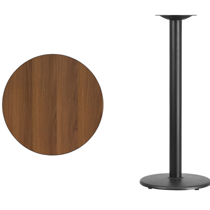Flash Furniture 24'' Round Walnut Laminate Table Top with 18'' Round Bar Height Table Base [863-XU-RD-24-WALTB-TR18B-GG] winsome cora pub table bar height round faux marble top black base