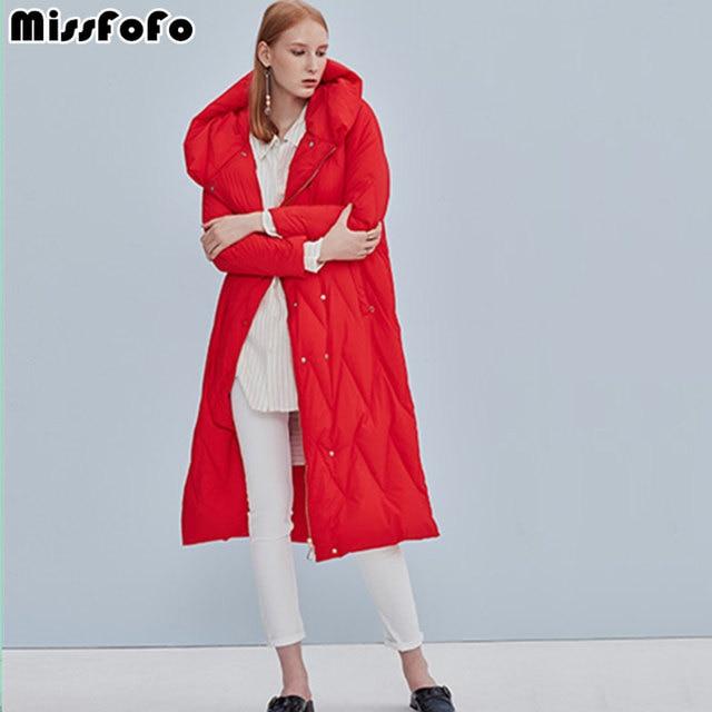 Missfofo 2017 новая мода женский утиный пуховик на колено карман на молнии черный красный размер S-XXL высокое качество пальто с капюшоном