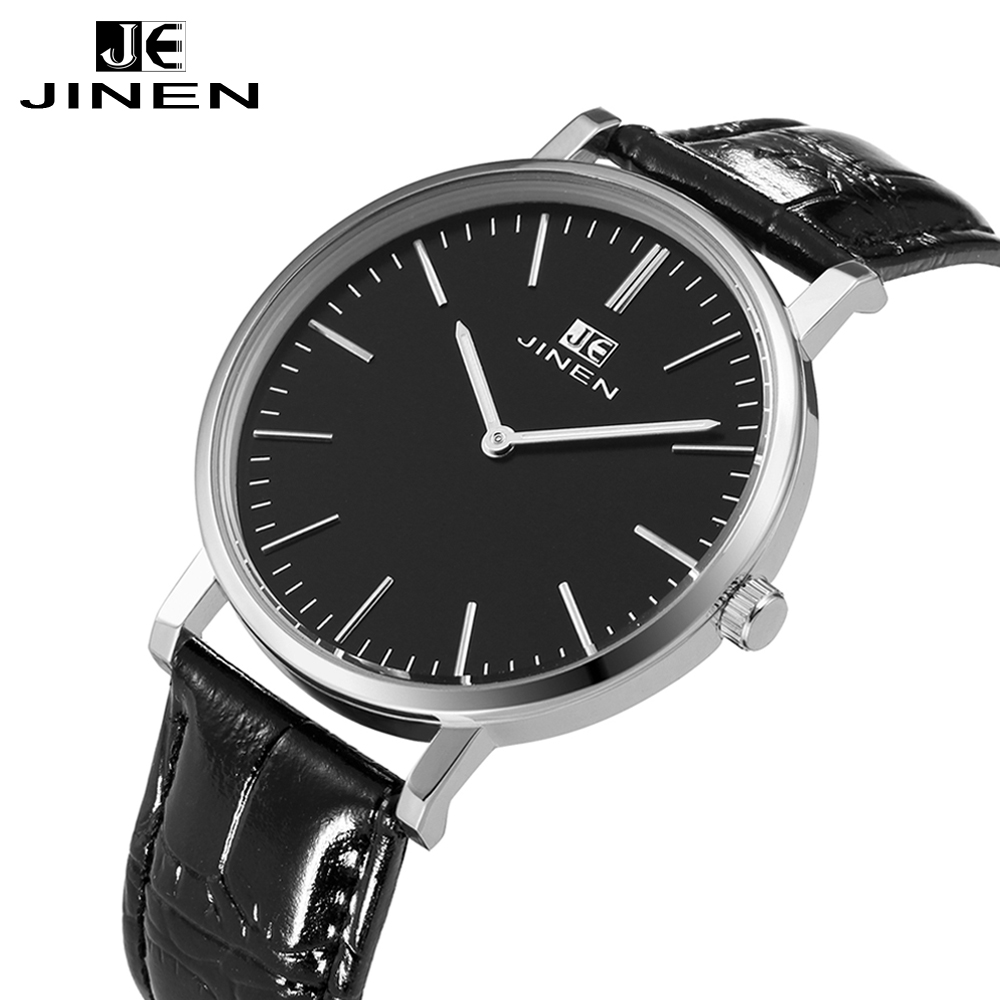 Фотография JINEN Latest Fashion Leather Watches Black band simple Classic Casual Luminous Analog Business Quartz Wristwatches