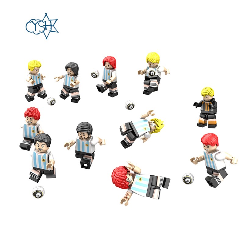 YSH  11 Pieces / Set Of Germany, Argentina, Brazil, Russia block foolball Soccer World Cup Team Set Version Of The Toy Doll james davidson dale brazil is the new america how brazil offers upward mobility in a collapsing world