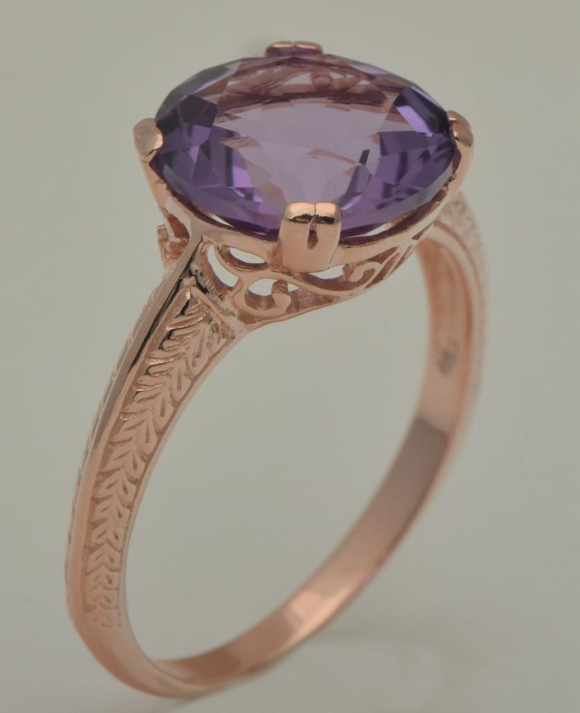 Livraison gratuite traitement personnalisé Han édition noble mode luxe copines bijoux 14 k rose Jin Tianran violet cristal anneaux