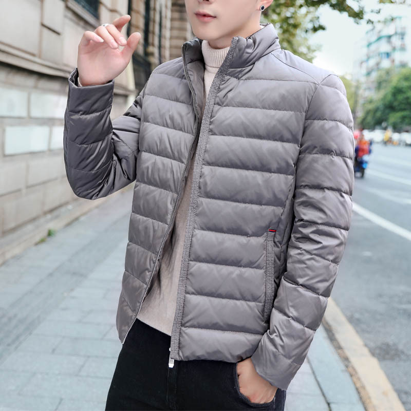 2019 winter men's ultra-light slim Stand collar duck   down   jackets windproof waterproof keep warm Breathable soft   down     coats