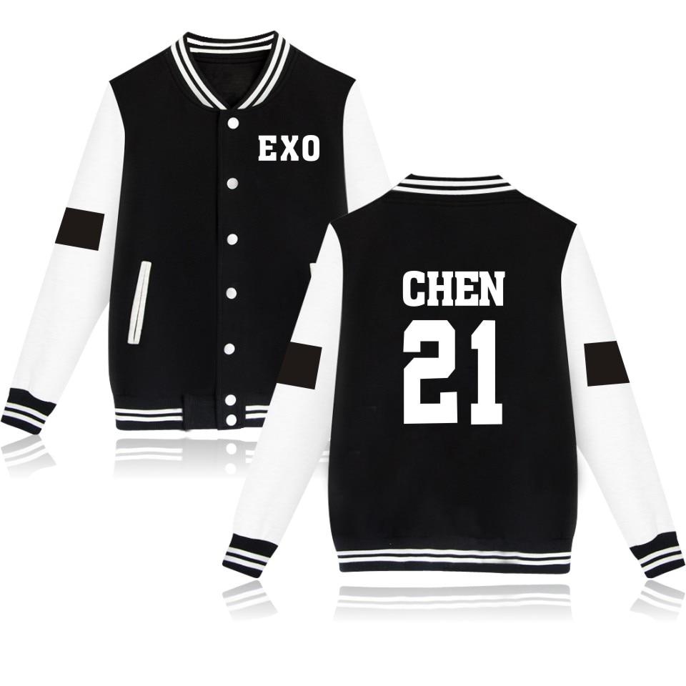 New Fashion Exo Chen 21 Long Sleeve Baseball Jacket Women Spring Kaos Pria Lengan Pendek Cabanna Black Floral Shirt Aeproductgetsubject